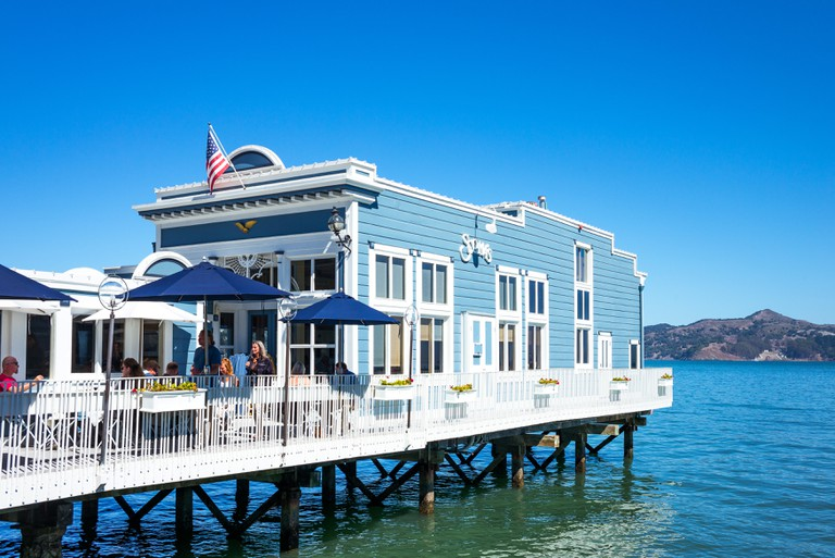 A restaurant on stilts in the waterfront of Sausalito