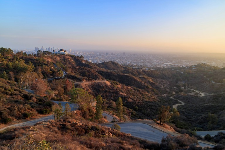 Los Angeles downtown Sunset Cityscape with Griffith Observatory, California