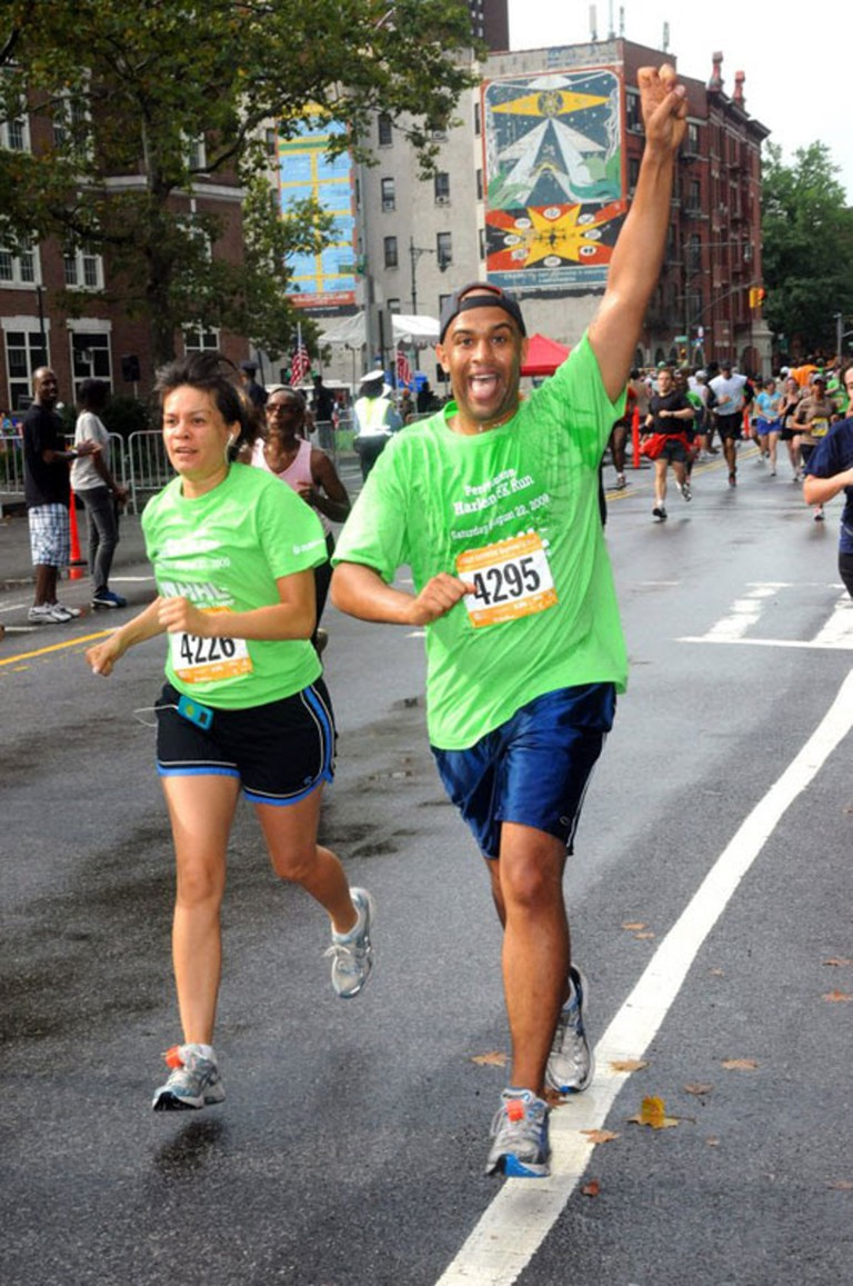 Yasir and Gwen in marathon, New York City, USA.