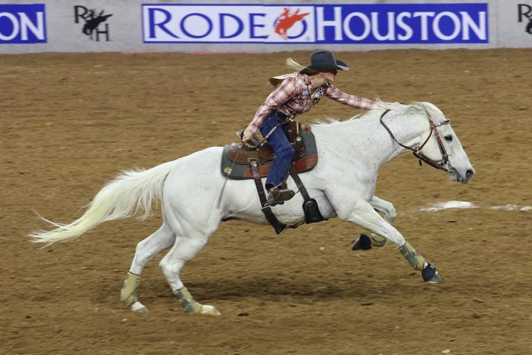 Barrel racing at Houston Rodeo, Texas
