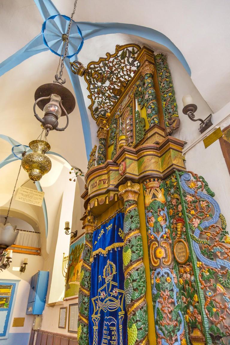 Torah Ark at the Ashkenazi Ari Synagogue Safed Tsefat Israel Synagogue. Created by famous Kabbala Rabbi Issac Luria in the 1500s