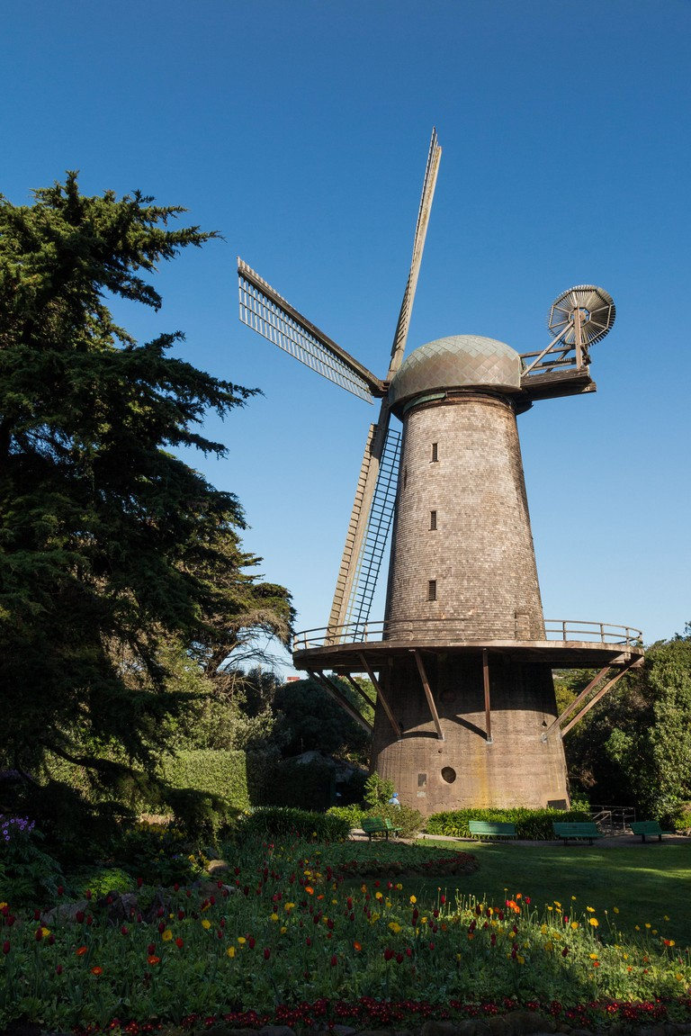 The Dutch Windmill and Queen Wilhelmina Tulip Garden at the Golden Gate Park, San Francisco.