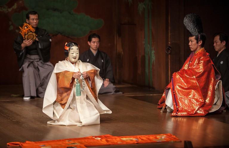 Performance of noh, in National Noh Theatre,4-18-1, Sendagaya, Shibuya-ku, Tokyo, Japan.
