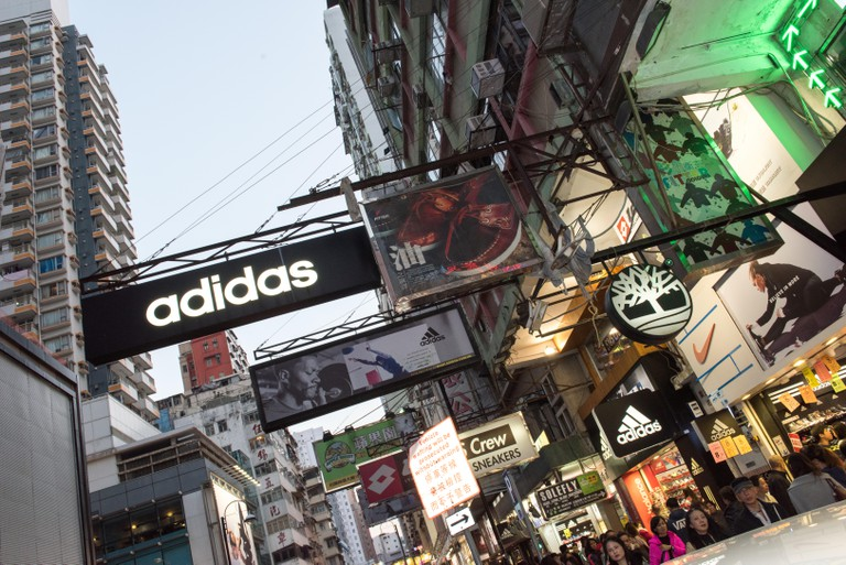 Fa Yuen Street known as Sneakers street (cross street, Nelson Street) Mong Kok Kowloon Hong Kong.© Jayne Russell/Alamy Stock Photo