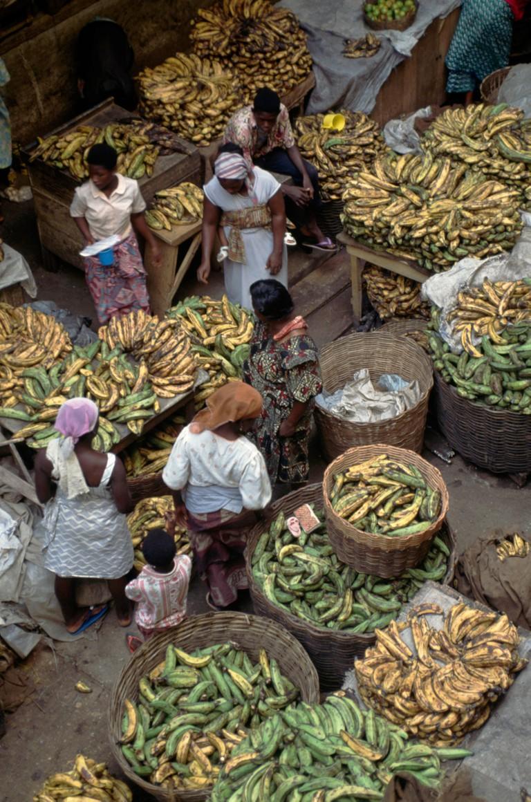 Selling bananas, Kaneshie Market, Accra, Ghana