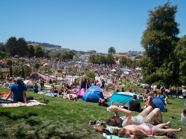 People in Dolores Park before 2016 Dyke March in San Francisco, California, USA.