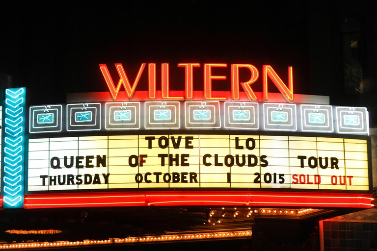 Atmosphere of Tove Lo signage at The Wiltern Theatre on October 1st, 2015 in Los Angeles, California.