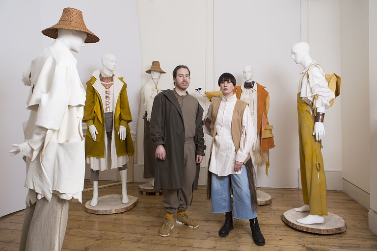 Canadian designer Curtis Oland, left, in his installation at Somerset House's International Fashion Showcase, 2019