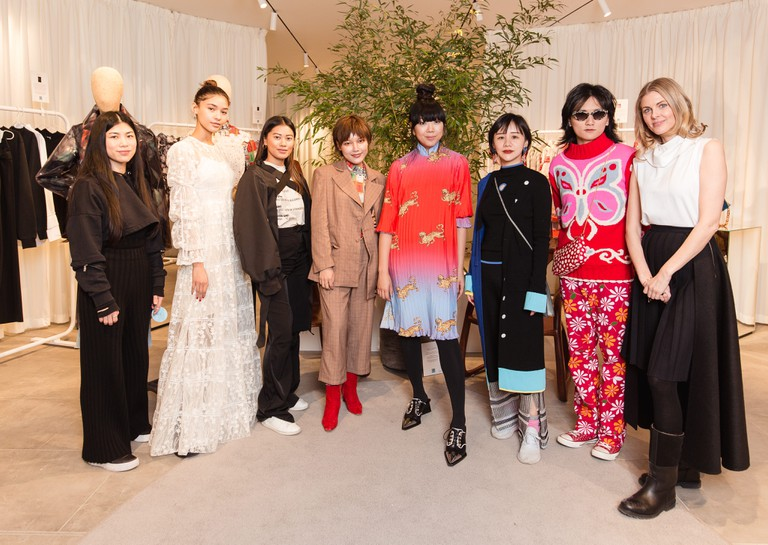 Susie Lau and her favourite new Chinese designers at the launch of her pop-up store in Bicester Village