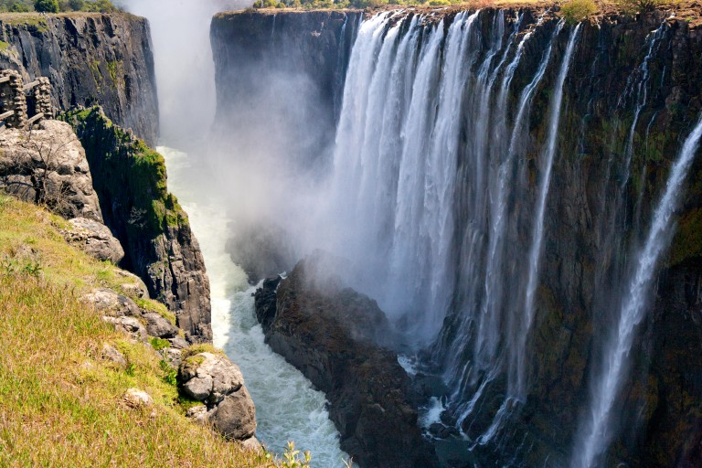 View of Victoria Falls from the ground.