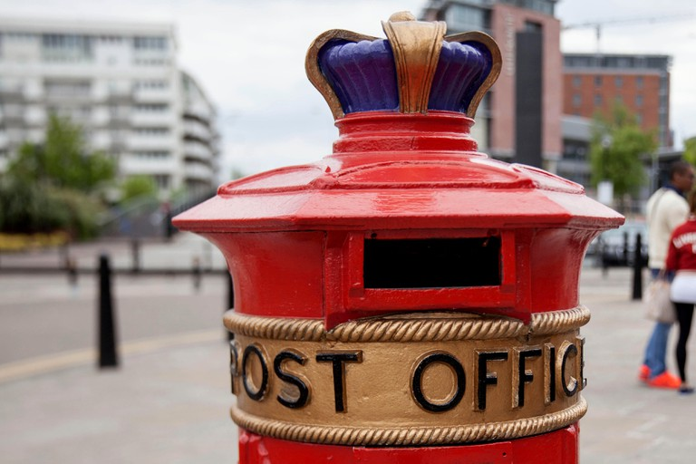 'Liverpool Special' post box next to the Albert Dock in Liverpool.
