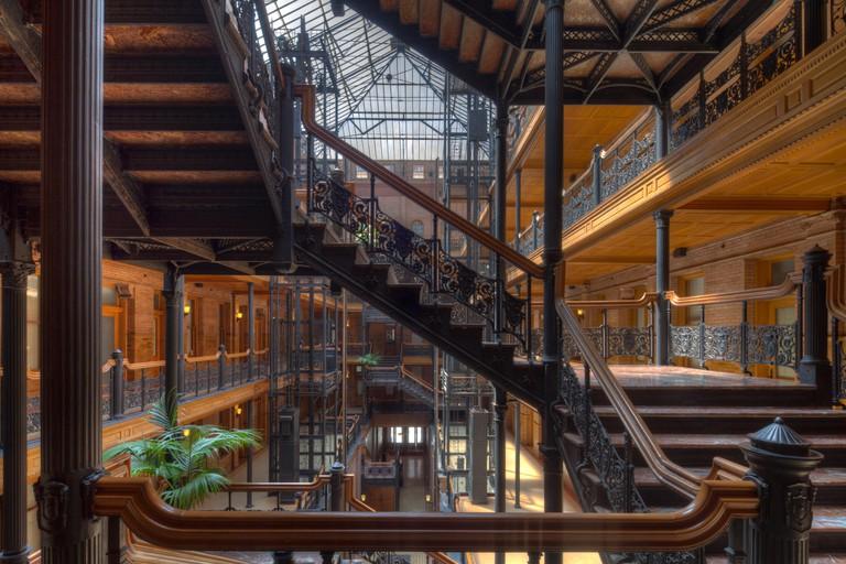 Stairway in the atrium of the Bradbury Building, Los Angeles