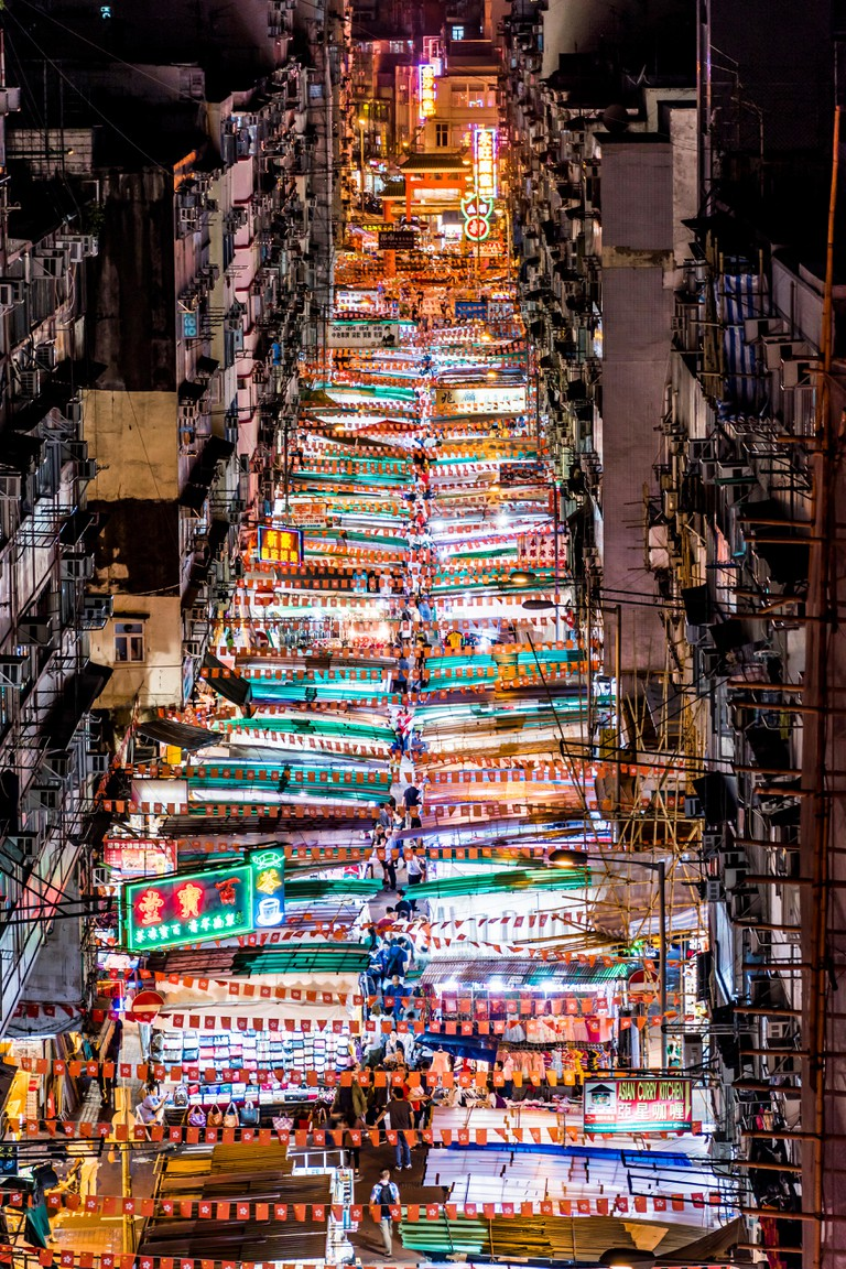 This is the eagle view of the Temple Street in Hong Kong. It's a night market and there's a lot of mouthwatering seafood restaurants