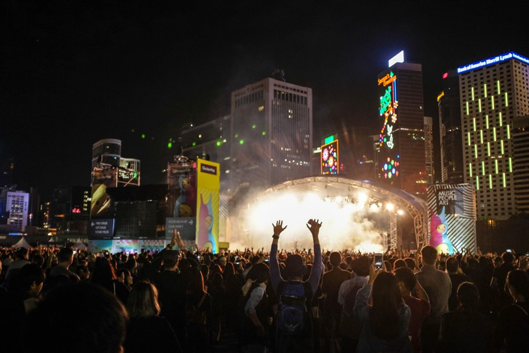 A crowd enjoys the headline act of Hong Kong's Clockenflap festival.
