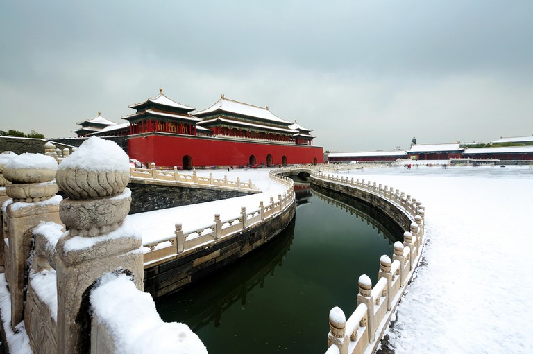 Forbidden City(China National Palace Museum) after a heavy snow in winter,Beijing,China.