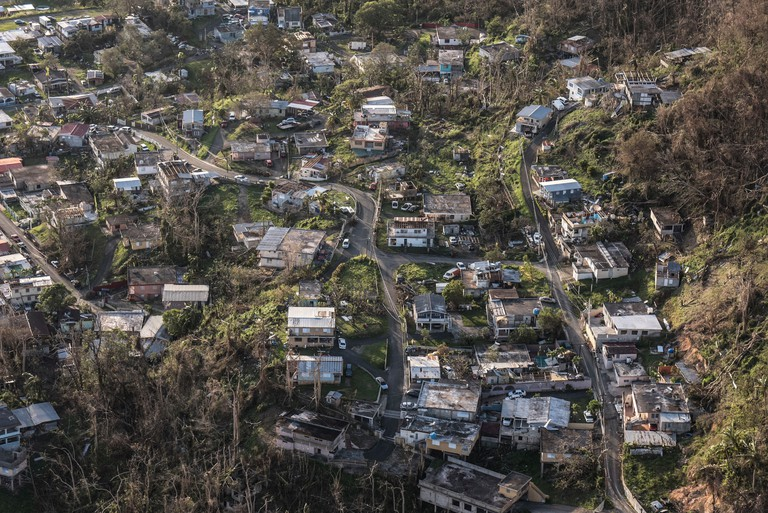 Aerial view shows devastation to Puerto Rico, Sept 25, 2017 after Hurricane Maria swept across the island.