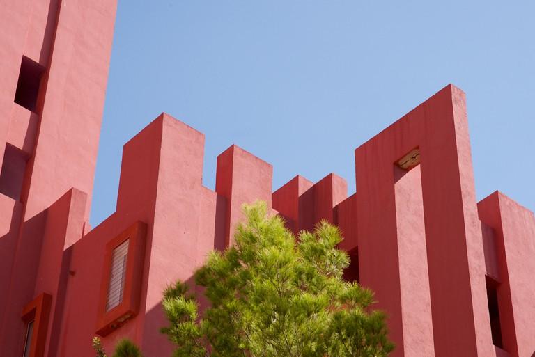 The La Muralla Roja building in Calpe, Alicante Province, Spain