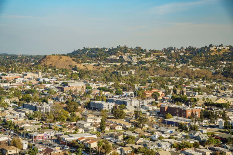 Aerial view of the cityscape of Highland Park, Los Angeles, California, United States