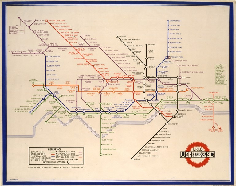 London Underground Map designed by Harry Beck, 1933