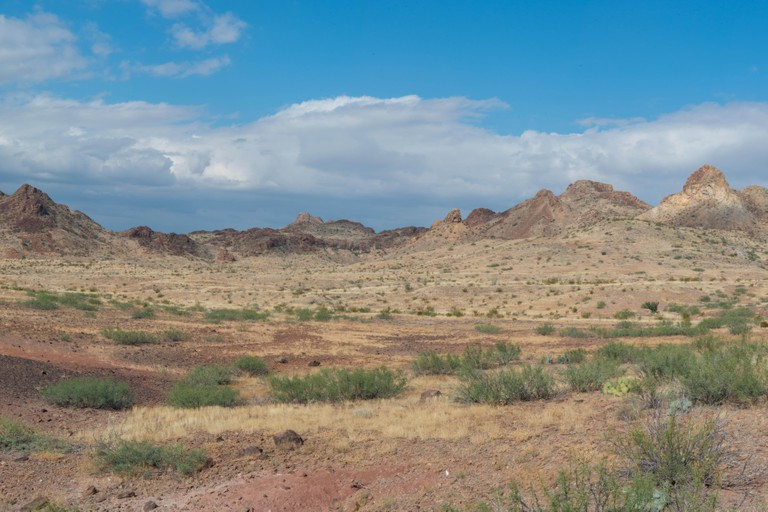 Panorama of rock formations in Big Bend National Park in Texas