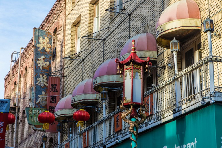 San Francisco, California. 24th February, 2018. Festive lanterns adorn buildings in Chinatown during the San Francisco Chinese New Year Festival, the