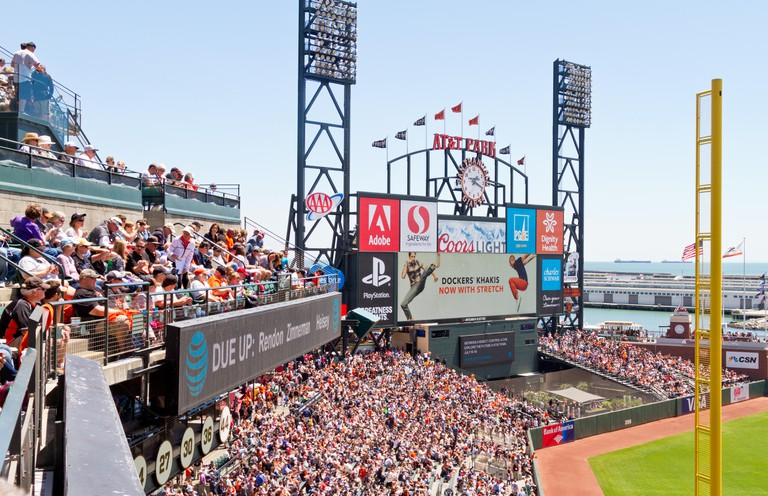 View of center field at AT&T Park, home of the San Francisco Giants.