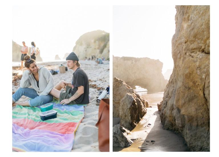 People relax at El Matador State Beach, Malibu, California