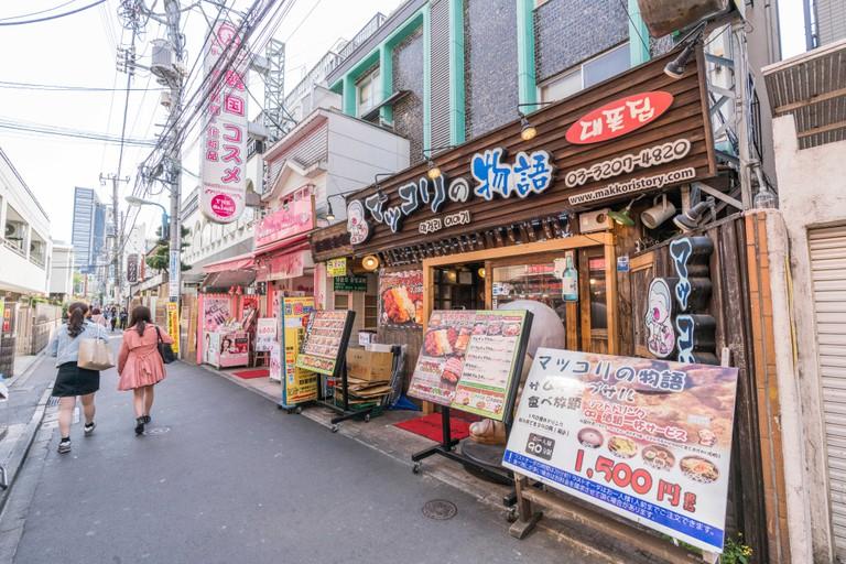Korean town around Shin-Okubo station, Shinjuku-Ku, Tokyo, Japan.