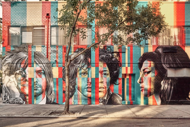Murals of famous artists in Soho, New York, USA.