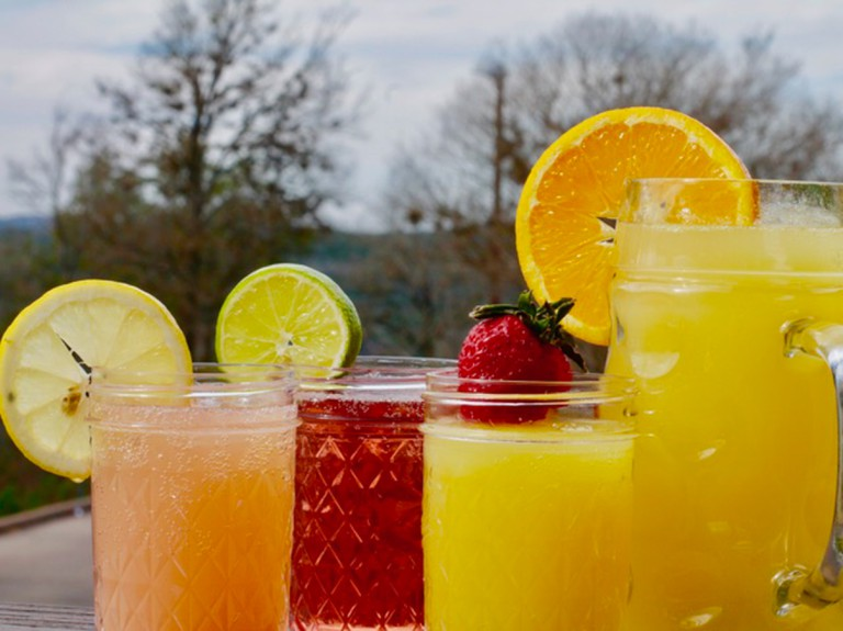 A selection of mimosas at Red's Porch, Austin, Texas, USA.