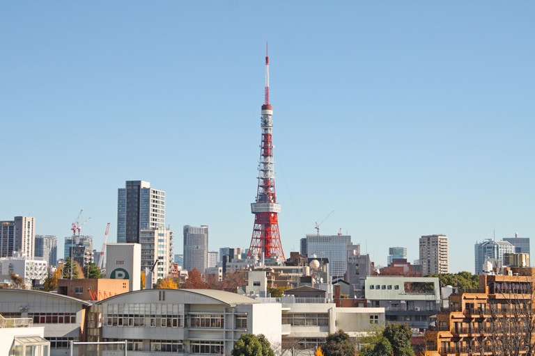 View of Tokyo Tower from Roppongi Hills, Tokyo, Japan.