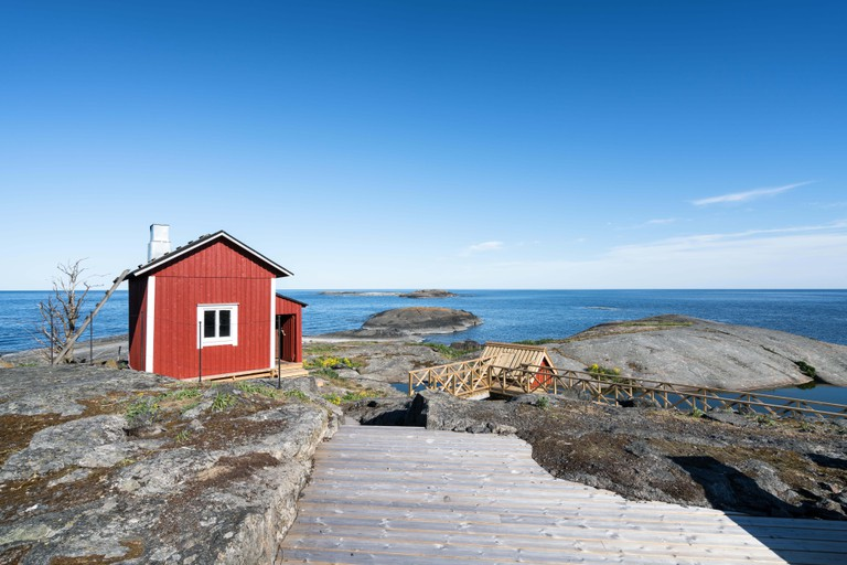 Sauna building at Soderskar lighthouse, Porvoo archipelago, Finland.