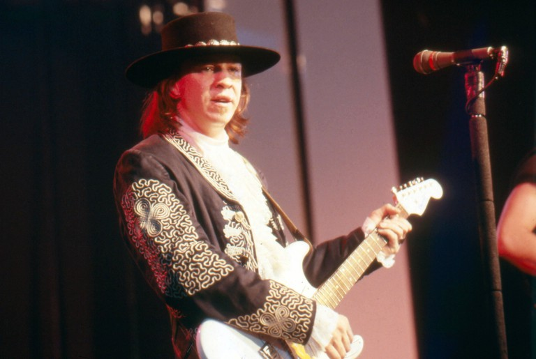 American musician Stevie Ray Vaughan on stage in 1984.