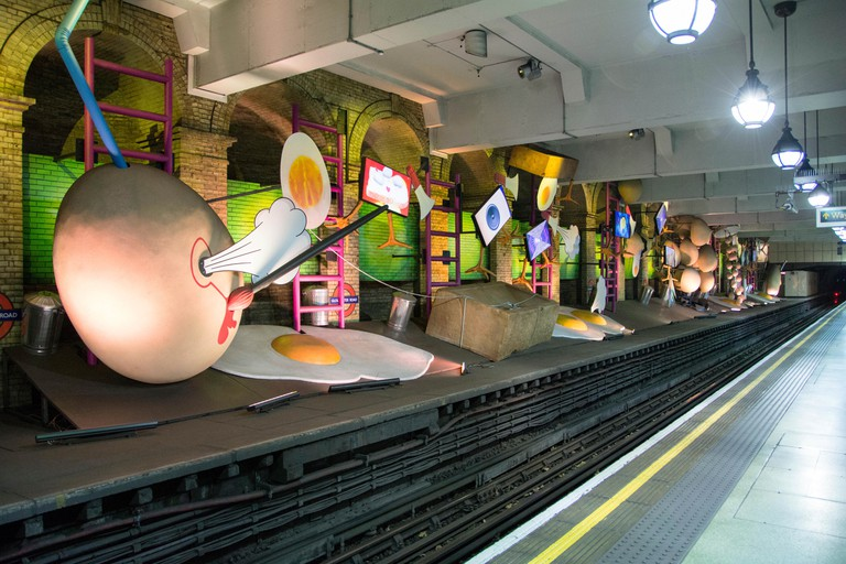 My Name is Lettie Eggysrub sculpture and artwork at Gloucester road underground station, London
