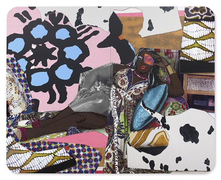 Mickalene Thomas, Qusuquzah Lounging with Pink + Black Flower, 2016