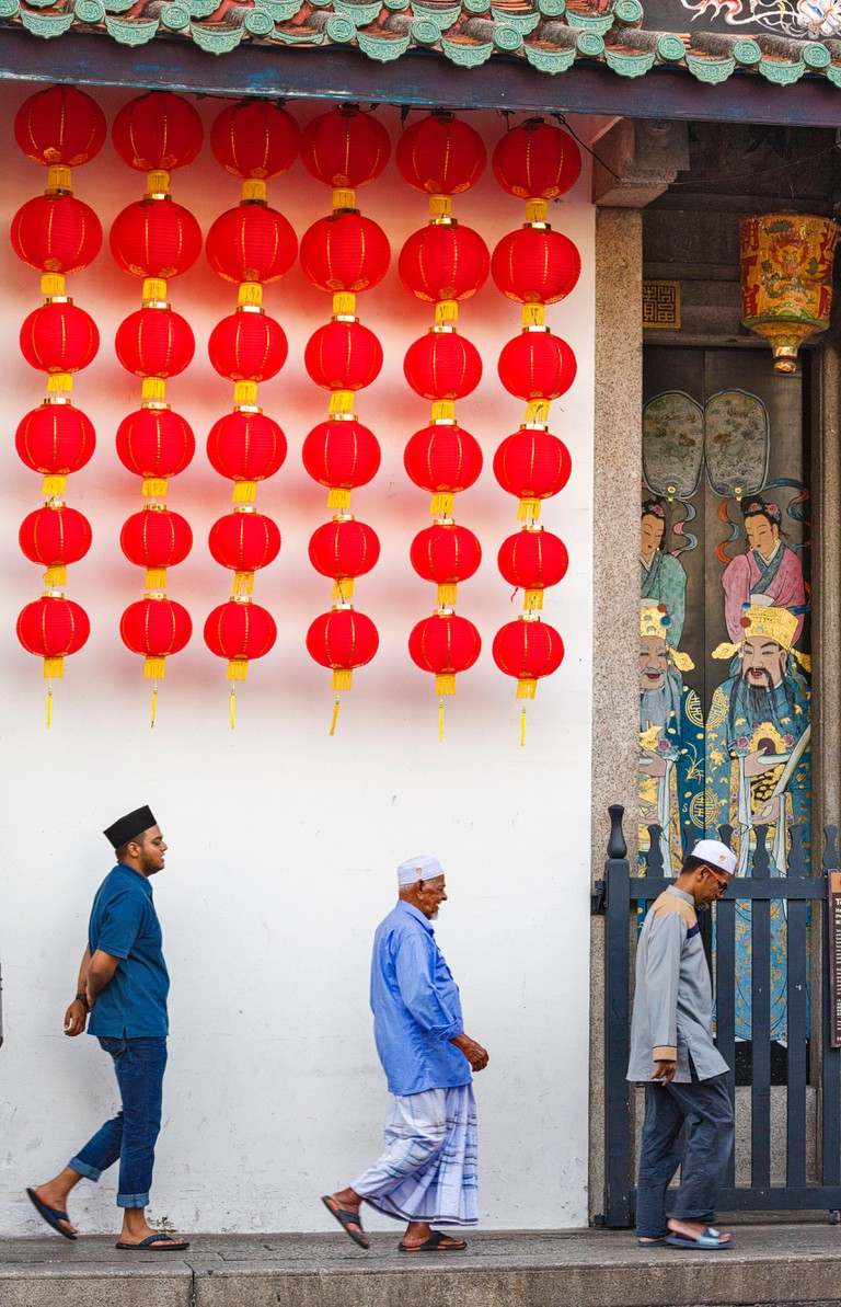 lanterns hanging in the temple in Han Jiang Teochew Temple  for Chinese New Year in Georgetown, Penang, Malaysia
