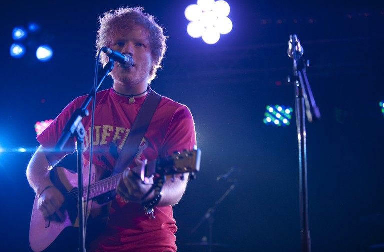 Ed Sheeran performing in Leeds Festival, Leeds, Britain.