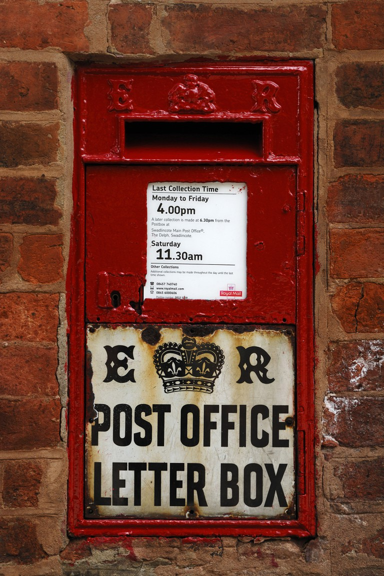A square-shaped post box