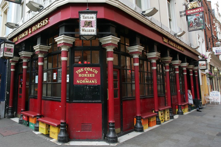 The Coach and Horses Public House in Soho, London