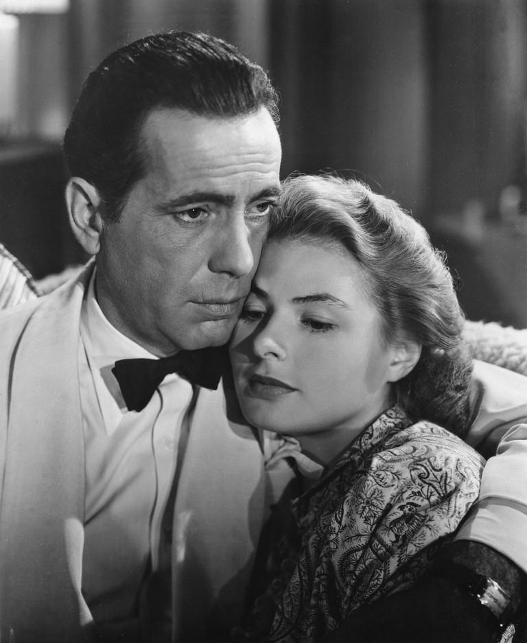 Humphrey Bogart and Ingrid Bergman in Casablanca - 1942.