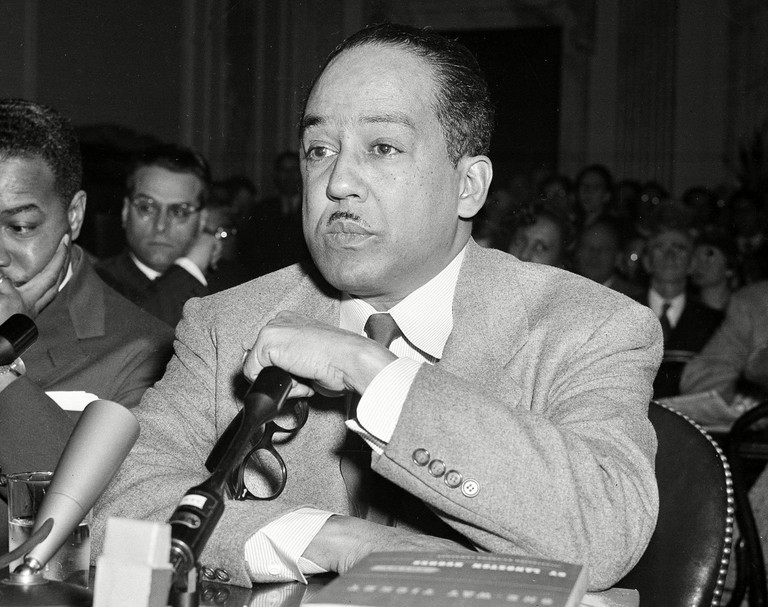 Poet and author Langston Hughes speaking before the House Un-American Activities Committee (HUAC) in Washington, D.C. USA.