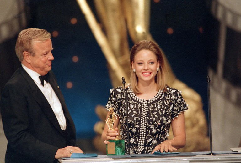 "American actress Jodie Foster accepts her David of Donatello Award for best actress in a foreign film ""The Accused"""