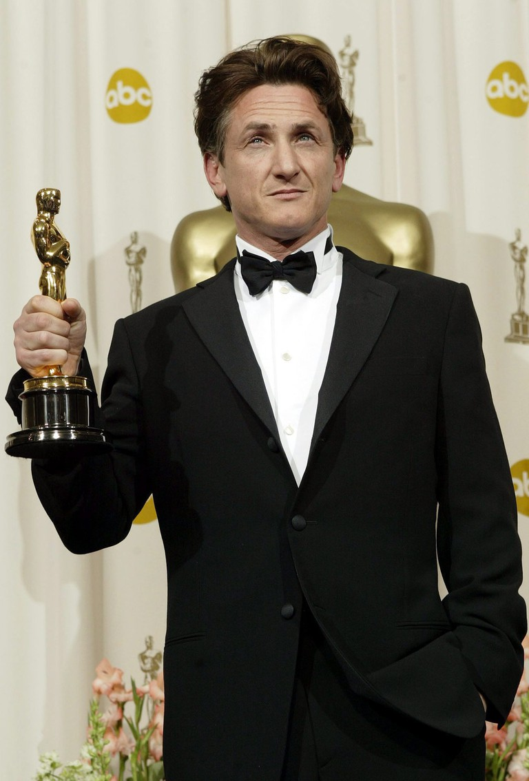 Sean Penn Poses with His Best Actor Oscar For His Performance in Mystic River