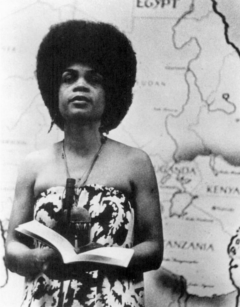 American poet Sonia Sanchez, née Wilsonia Benita Driver, photographed in The 1970s.