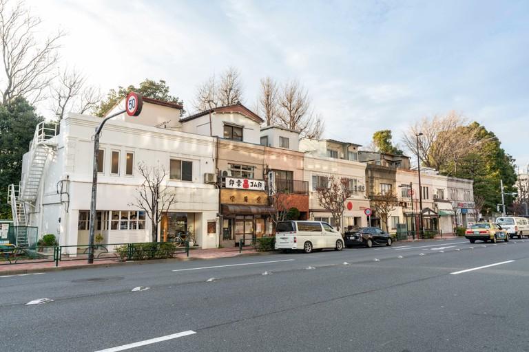 Street scene near Kiyosumi-Shirakawa Station, Koto-Ku, Tokyo, Japan.