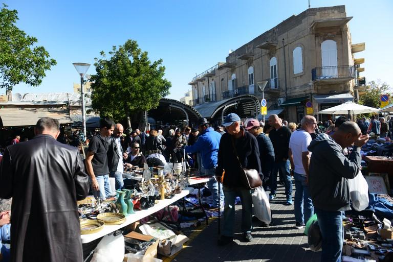 Vibrant flea market in Jaffa, Israel.