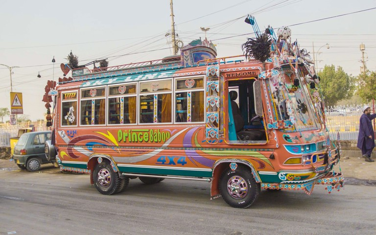 Savari Express Bus, Still from Beyond Hollywood series. 2019, Karachi, Pakistan.