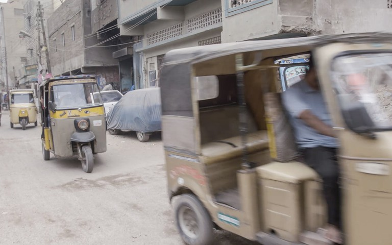 Tuk-tuks. Still from Beyond Hollywood series. 2019, Karachi, Pakistan.