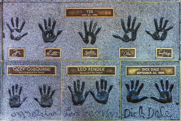 Handprints of rock musicians and guitar greats on the Hollywood Rockwalk