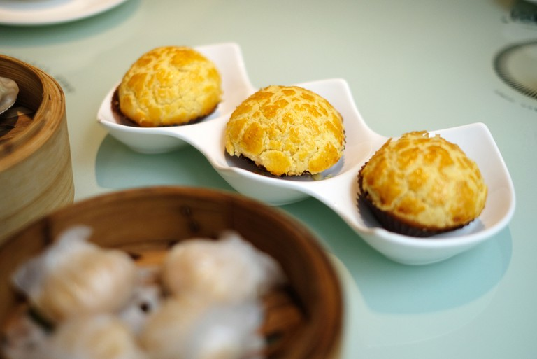 Traditional afternoon tea with pineapple buns, Hong Kong